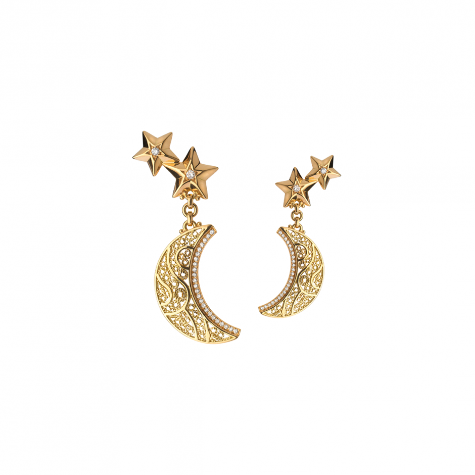Diamond Crescent-Star Earrings
