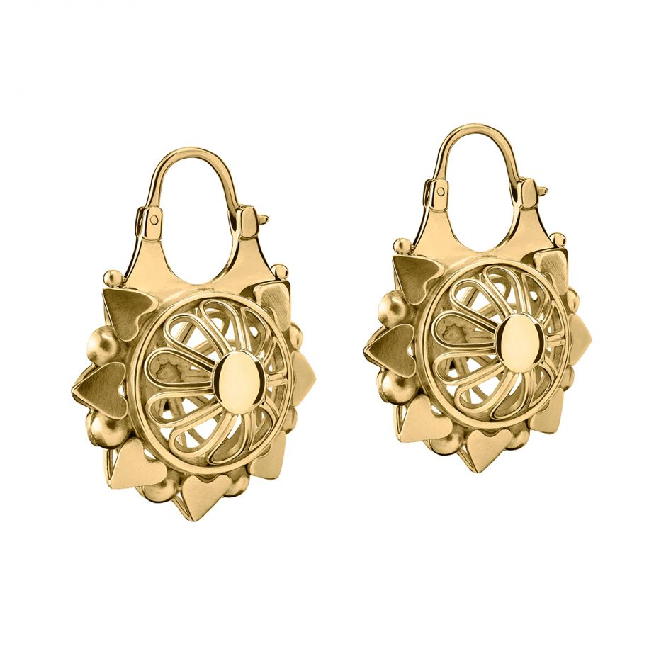 Gold Basket Earrings